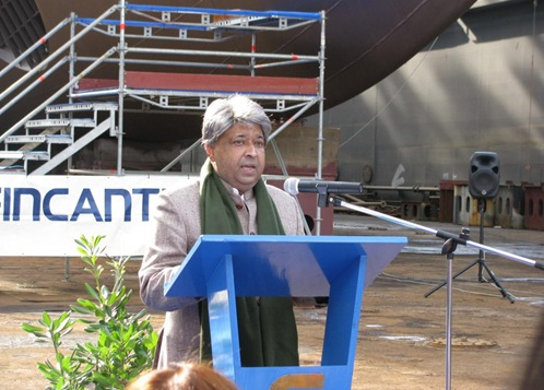 The Indian Ambassador in Rome, Shri Arif S. Khan addressing the gathering during the launch of fleet tanker INS Deepak, at Muggiano, Italy on February 12, 2010.