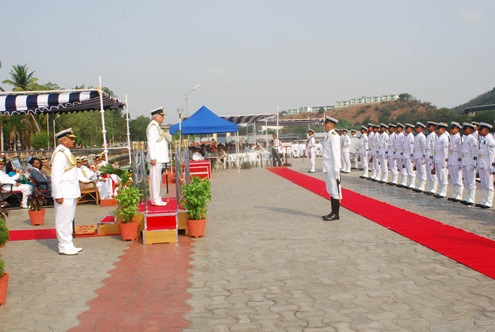 The Chief of Naval Staff,  Admiral Sureesh Mehta at the saluting dice at the ceremonial Guard of Honour during the commissioning of Airavat, in Visakhapatnam, Andhra Pradesh on May 19, 2009.