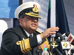 The DG Coast Guard, Vice Admiral Anil Chopra interacting with the media on the occasion of the 34th anniversary of Coast Guard, in New Delhi on January 31, 2011.