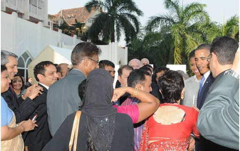 The President Barack Obama and the First Lady Michelle Obama meeting the families of victims of 26/11 sea-borne terror attacks, at Hotel Taj Mahal, in Mumbai.