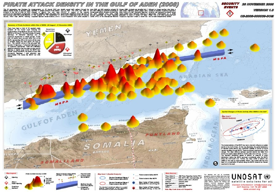 UNOSAT Releases 3D Map of Piracy Incidents in the Gulf of Aden for 2008